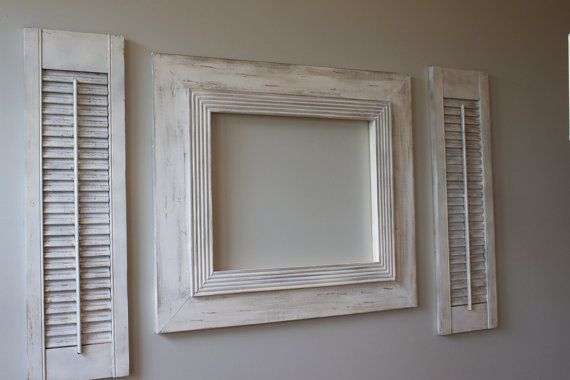 16x20 Distressed Open Back Picture Frame Vintage White Grey Washed with Railed Trim for Canvas or Portrait via Etsy