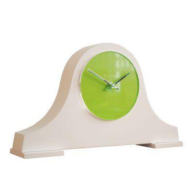 Roco Verre Block Louis Mantel Clock White (H21.5cm x W36cm x D7.5cm Lime Green)