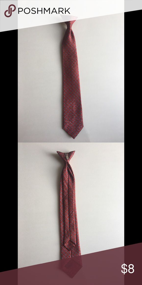 """Red, Blue, and Silver Patterned Boys Clip On Tie In excellent condition, this tie looks nice with a white dress shirt. It measures 15"""" long. Additional pictures and measurements available upon request.  No damage unless explicitly stated! 👔 Accessories Ties"""