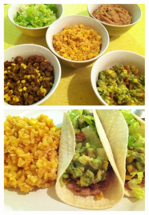 Taco Night Taco night is my favorite night for a couple of reasons. First of all, you get to eat tacos. Secondly, there's a mess load of leftovers to incorporate into meals for the rest of the week, like more tacos, enchiladas, nachos (make sure those are whole grain baked chips!), burritos, salads, and rice bowls. I like to eat these tacos on corn tortillas, but you could also use whole wheat flour tortillas if you prefer. For the rice: 1 T. olive oil 1/2 cup onion, minced 2 cups long grain…