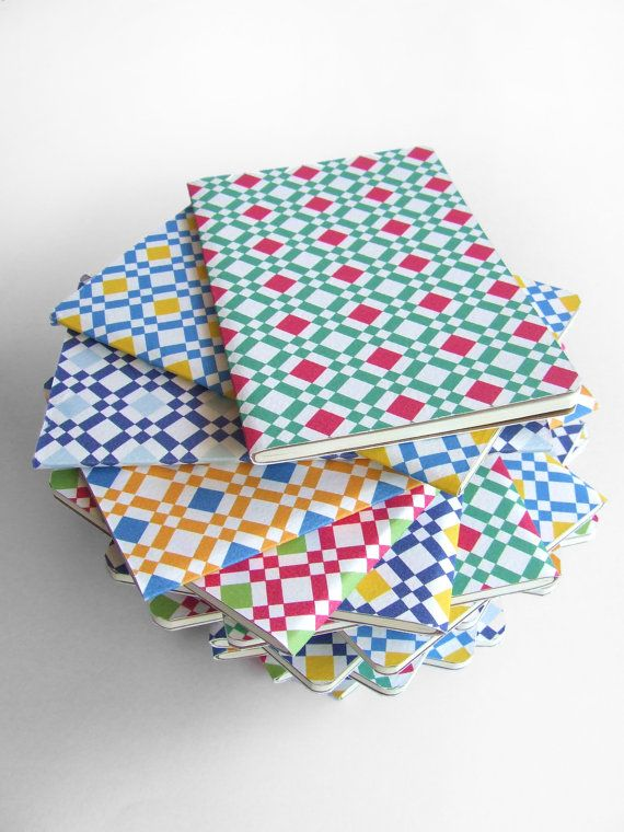 MOLESKINE® notebook covered with geometric pattern cover -  Fun Diary, Colourful Cahier journal, witn portuguese tiles colors and pattern