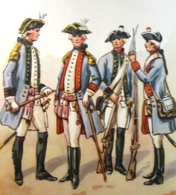 3rd Foot Regiment of the Lower Mace of the  Grand Duchy of Lithuania 1775. From left to right: officer, officer, private, private. Fig. B. Gembarzewski.