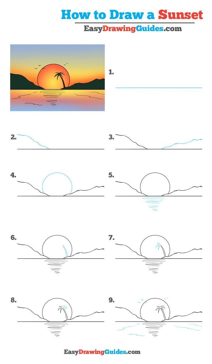 How To Draw A Sunset Really Easy Drawing Tutorial Drawing