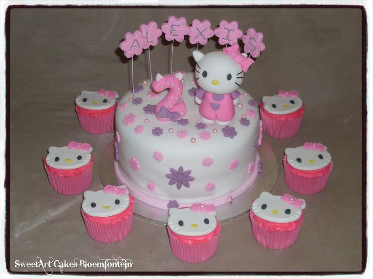 HELLO KITTY CAKE & MATCHING CUPCAKES (We deliver figurines & toppers nation wide) For more information & orders email SweetArtBfn@gmail.com, call 072127786.  (Follow me on Facebook:  https://www.facebook.com/sweetart.bloemfontein