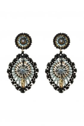 MIGUEL ASES SUBLIME CHIC EARRINGS GOLD FILLED material: 14k gold filled, Miyuki beads, Swarovski crystals, onyx colour: gold, black, grey