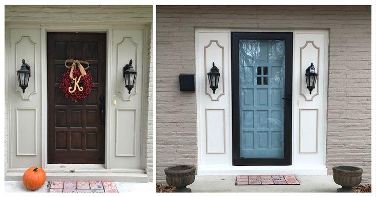 Front door paint upgrade. Anderson bronze storm door installed.  Door: SW 173-C3 French Moire Accent: SW 7103 Whitetail House color: SW Sandbar 7547