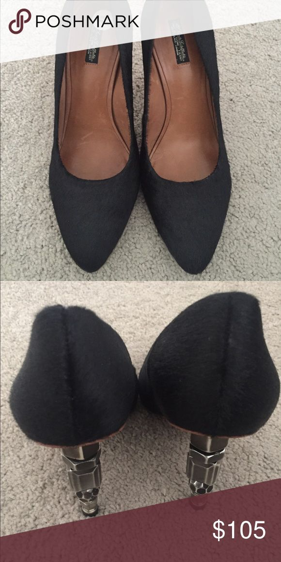 ALLSAINTS Heels! Black ALLSAINTS heels. The inside of the shoe is Brazilian leather, the heel is made of steel, and the shoe itself is made of fur. They're in good condition and have never been worn. All Saints Shoes Heels