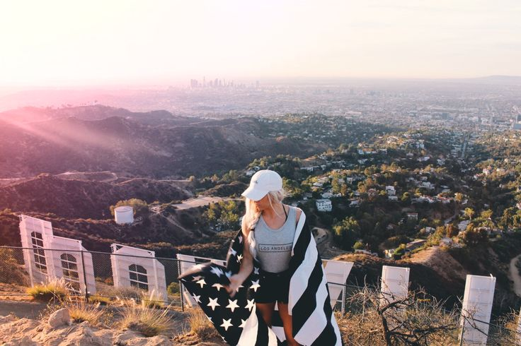 Hiking the Hollywood Sign in Los Angeles California ♡ So beautiful! Read the blog now! LadyScorpioBlog.com or Shop Now LadyScorpio101.com | @LadyScorpio101 | Wearing Babe cap from Urban Outfitters American Flag Tapestry by Lady Scorpio