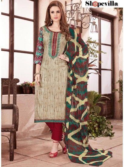 Beige Cotton Straight Cut Pant Style Suit-51009