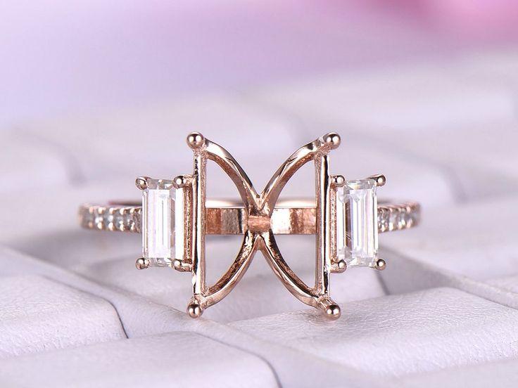 Moissanite Diamond Engagement Semi Mount Ring 14K Rose Gold Emerald Cut 8x10mm