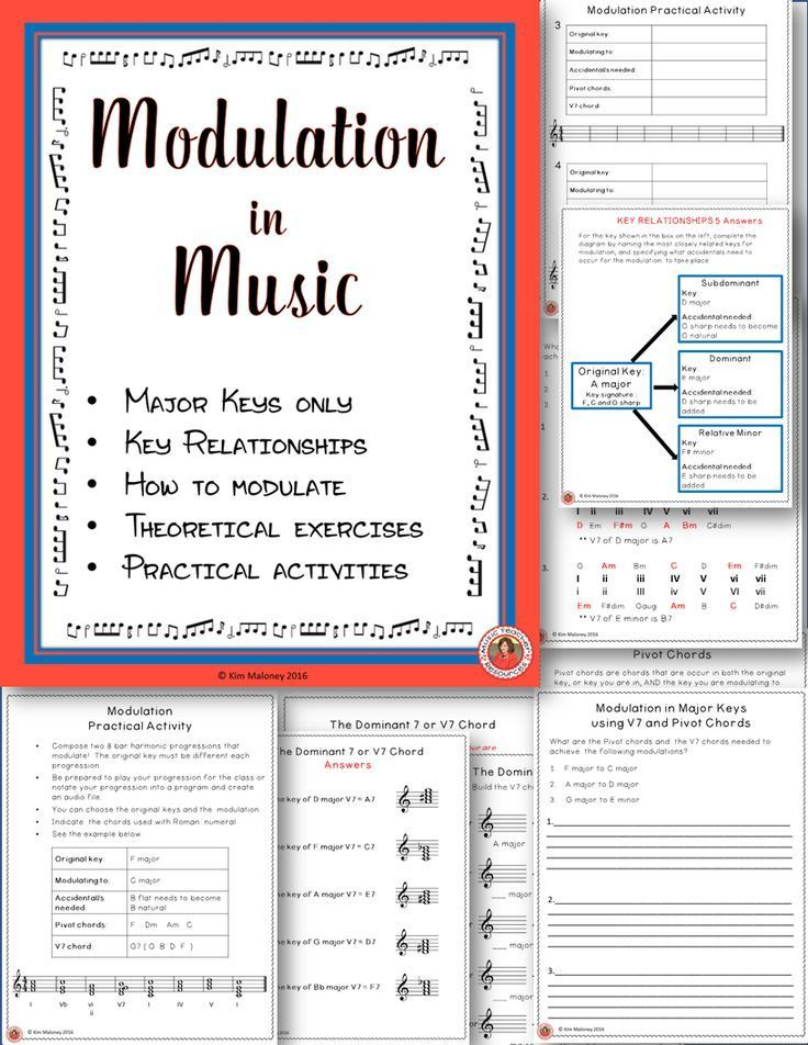Hmmm - this can be a headache for students to get their head around!! MODULATION in MUSIC. This 20 page resource introduces students to modulation. Explanations, students exercises, practical activities and answers sheets!!       ♫ CLICK through to read more or RE-PIN for later! ♫