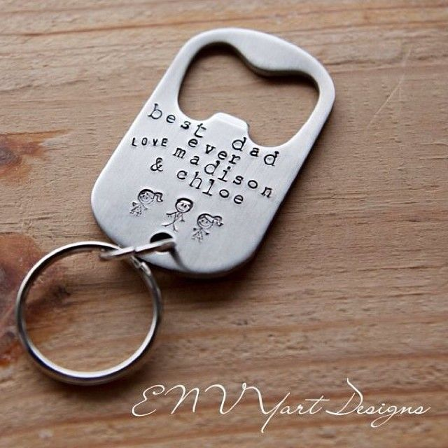 Hand stamped, stainless steel bottle opener keychain. www.fb.com/ENVYartDesigns #envyartdesigns #personalized #keychain #fathersday #stickfi...