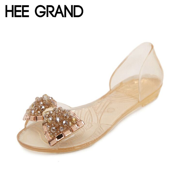 Hee grand sandali delle donne di estate bling bowtie moda peep toe Pattini della gelatina Sandalo Scarpe Basse Donna Taglia 2 Colori 36-40 XWZ722