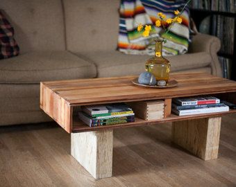 bolted oak slab reclaimed coffee table