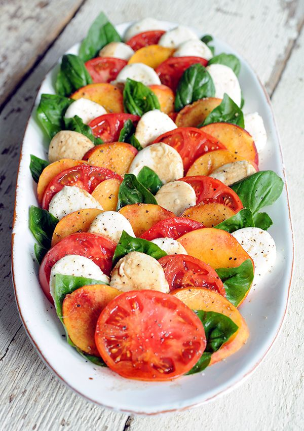 "Peach caprese salad for a ""Where'd You Go, Bernadette"" book club menu 
