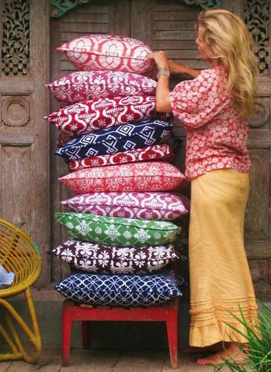 I want to travel through Bali for six weeks and move back with my husband and kids and design beautiful fabric like this woman did.