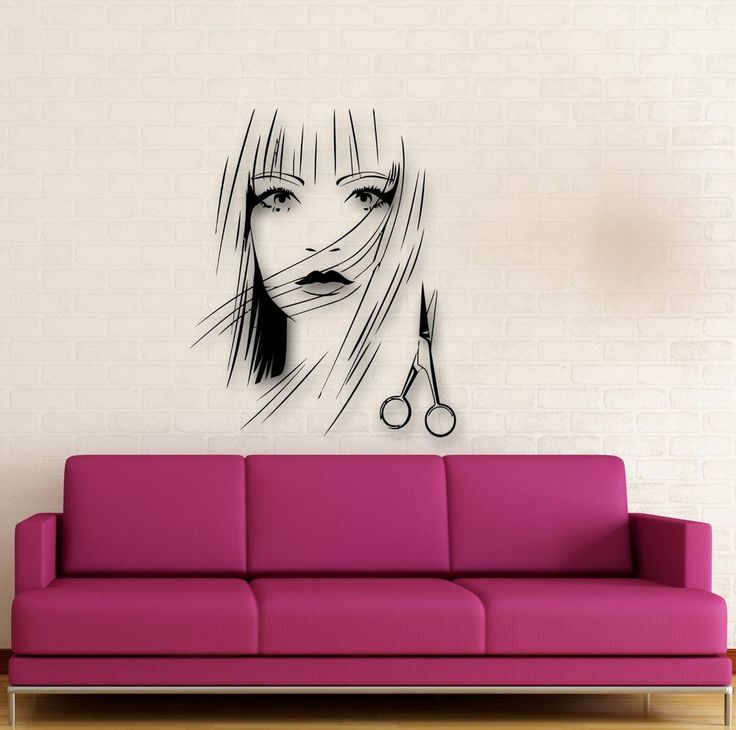 Wall Stickers Vinyl Decal Beautiful Girl Scissors Hairdresser Hairstyle (ig1733)