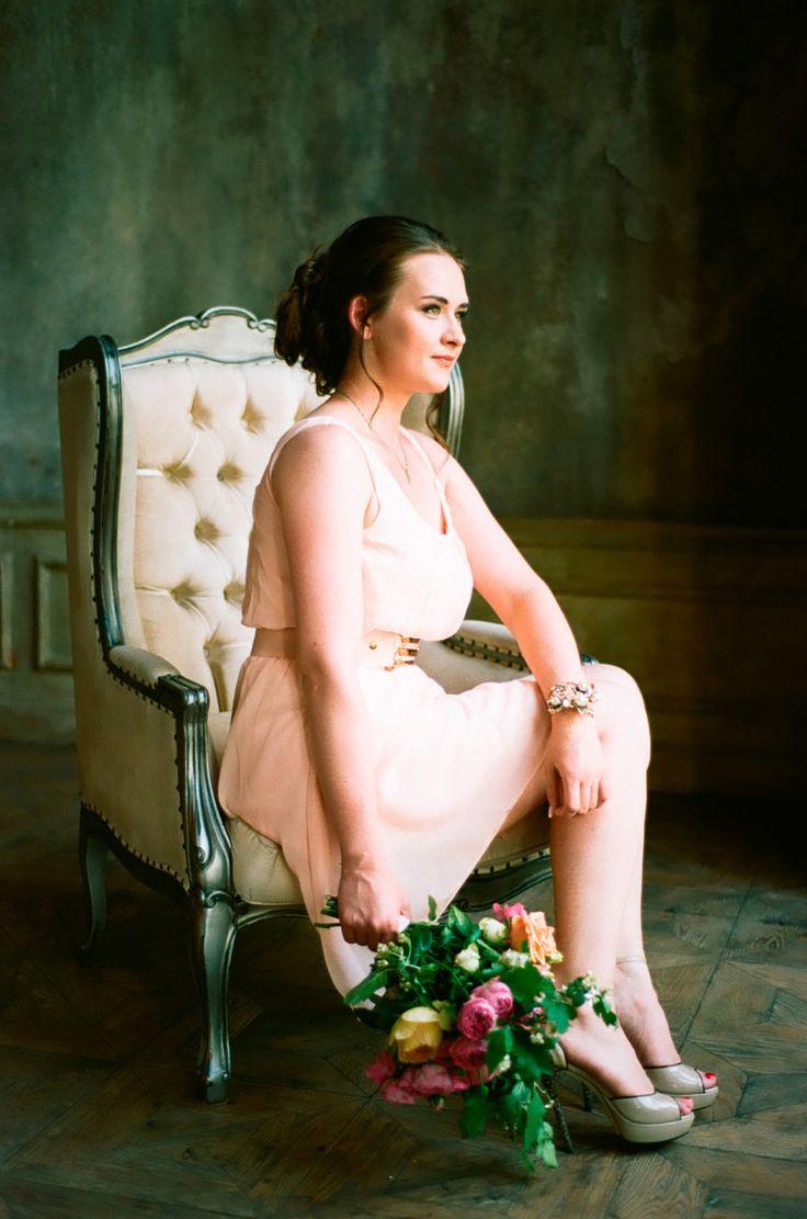 portrait, film photography, studio, woman, flowers