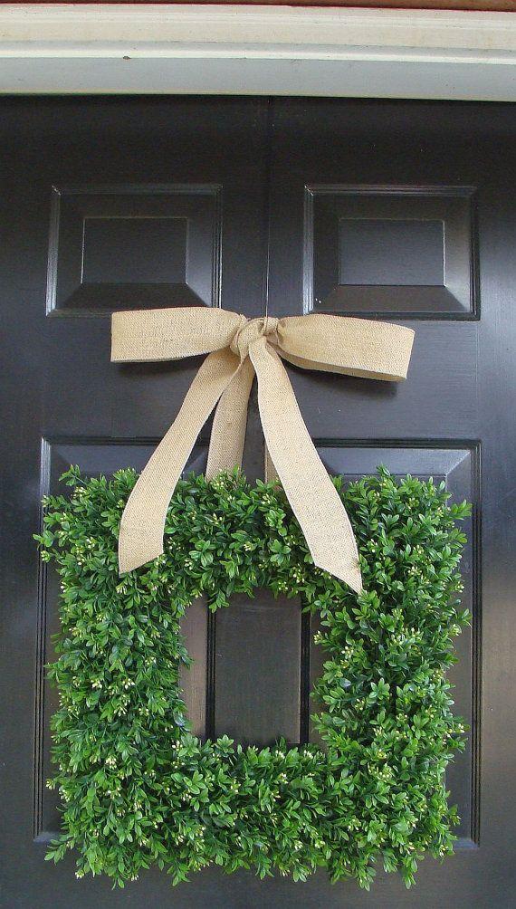 Spring Wreath- Wedding Wreath- Choice of Burlap Ribbon- Artificial Boxwood Wreath- Square Wreath- Summer Wreath Decor- 24 INCH on Etsy, $125.00