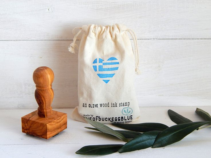 Greek Flag - Heart - Greece Inspired Olive Wood Stamp with Handle by ahueofduckeggblue on Etsy