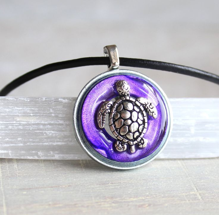 purple turtle necklace, sea turtle, turtle jewelry, nature necklace, mens jewelry, mens necklace, unique gift, beach jewelry by NatureWithYou on Etsy