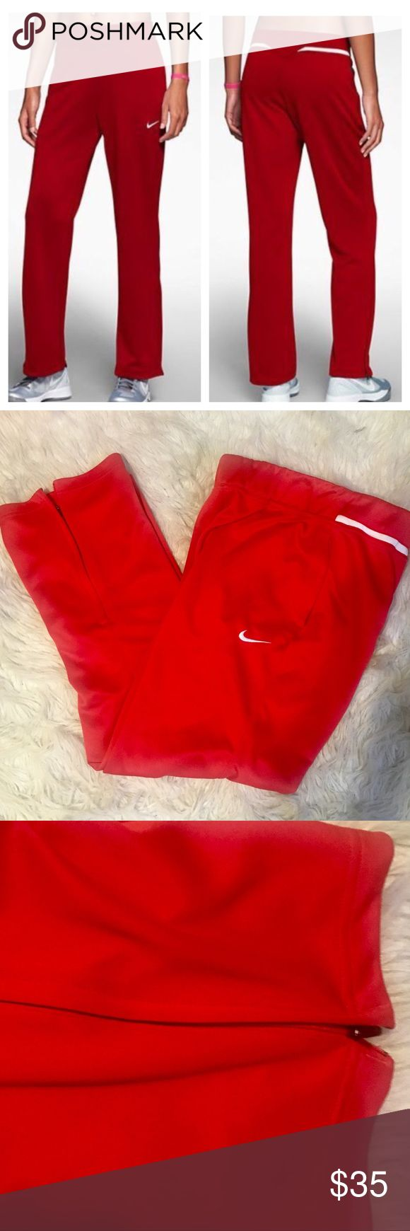 NWOT Nike dry fit Avenger pants New without tags. VERSATILE, DRI-FIT COMFORT The Nike Avenger Knit Women's Training Pants are made with durable fabric that lifts sweat away from the skin and zip vents at the hem for a comfortable fit and easy changing over footwear. BENEFITS Dri-FIT fabric to wick sweat away and help keep you dry and comfortable Wide stretch waistband with interior drawcord for a snug, adjustable fit Open hem with zip vents. Side zip pockets for secure storage Fabric…