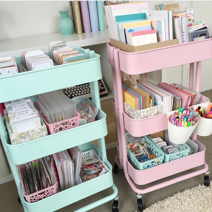 "These are perfect for my mint classroom theme! Would also work well for centers, pull-out, or enrichment. The RASKOG carts from IKEA. Spray paint them AFTER they are assembled. Use the rustoleum paint in ""ocean mist"" for the mint and plastikote paint in ""cameo pink"" for the pink cart. Also spray paint some plastic containers to match using a plastic primer beforehand."