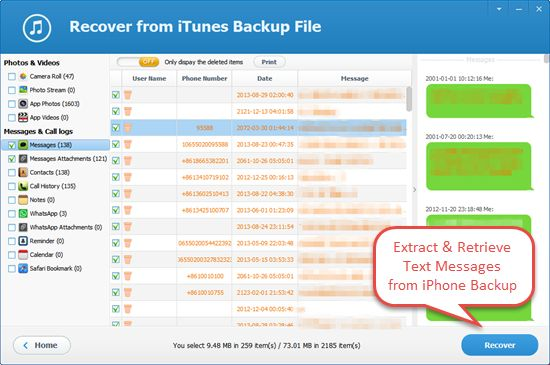how to delete messages on iphone through itunes