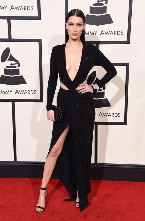 Click to see our very favorite dresses and looks from the 2016 Grammys, including Bella Hadid in a super sexy low-cut black dress