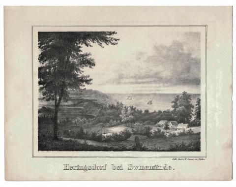 Als #Heringsdorf schon Badeort, aber auch noch Fischerdorf war (Lithographie, 1840). Foto: Bücher+Bilder Markt Heringsdorf #meckpomm #usedom #seebad #strand #geschichte