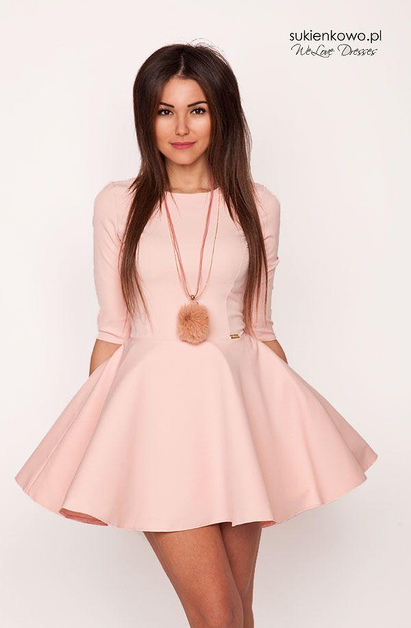Sukienkowo.pl - Sukienka rozkloszowana usztywniana pudrowo różowa POLA