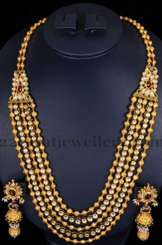 Jewellery Designs: 5 Strings Beads Mala in Kundan Pattern