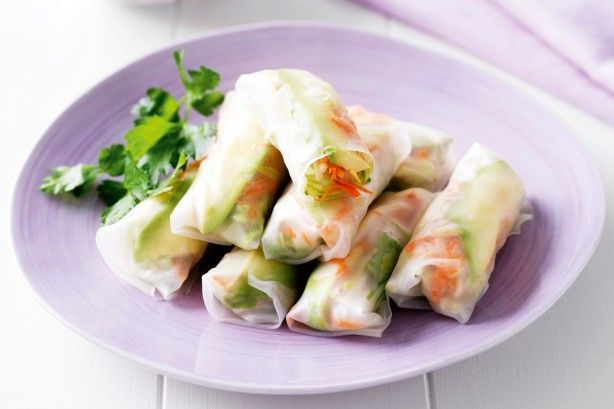 These light rice paper rolls are packed with the goodness of fresh avocado and vegetables.