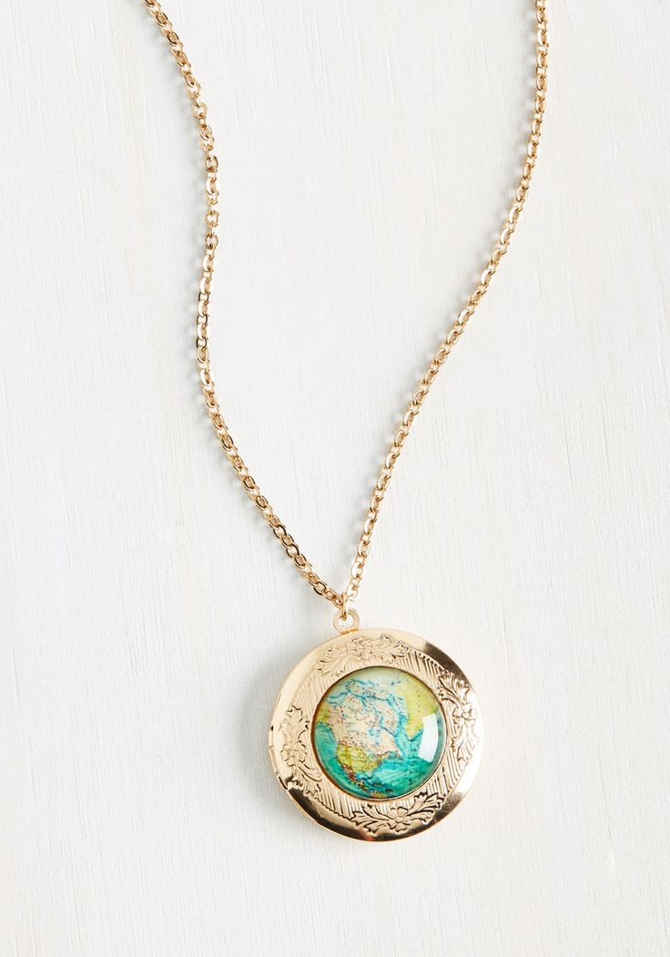Hello? Anyone home? Earth to ModGirl! It's clear that you only have eyes for this ModCloth-exclusive necklace, as you're entirely captivated by functional locket pendant, antiqued gold rim, and colorful print of far-off destinations!