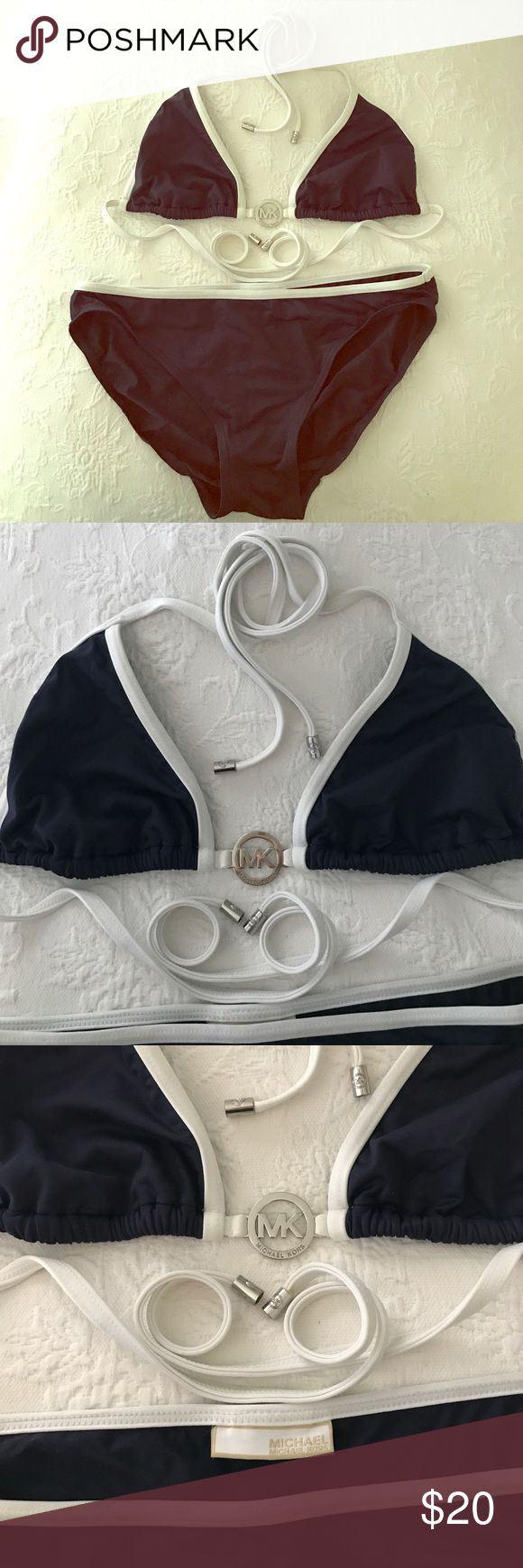 Michael Kors Bikini Nautical inspired string bikini in navy blue with white and silver details. I cut the size tags out of this suit but fits like an 8 or medium. GUC KORS Michael Kors Swim Bikinis