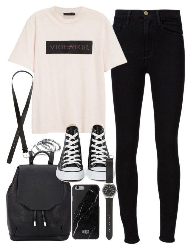 """Outfit for school with high waisted jeans"" by ferned ❤ liked on Polyvore featuring Frame, Alexander Wang, Fiorelli, rag & bone, Converse, H&M, Native Union and J.Crew"