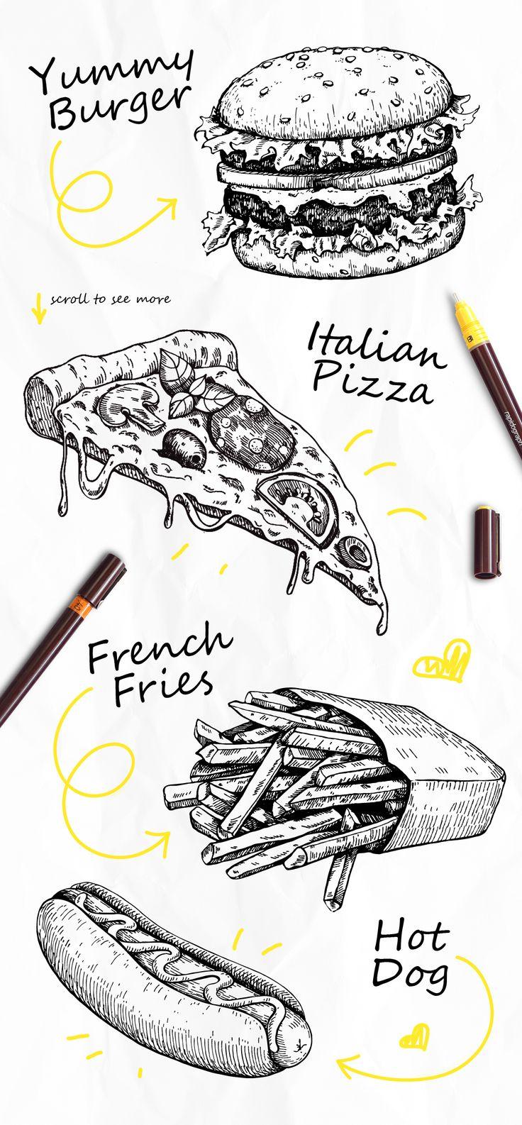 Fast Food Sketch Set. Detailed Hand Drawn Illustrations on Behance