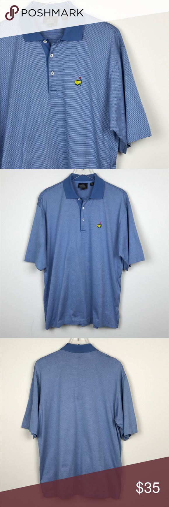 "[Clubhouse Collection] Master's Striped Golf Polo Men's short sleeve polo shirt. Blue striped. Masters logo embroidery on left chest. 100% cotton. Made in Italy.   🔹Pit to Pit: 22"" 🔹Length: 28"" 🔹Condition: Excellent pre-owned condition.  *Z2 Clubhouse Collection Shirts Polos"
