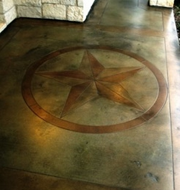 Texas Star Stained Concrete Patio W Border Edging I