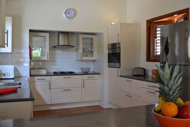Minimalist white kitchen.