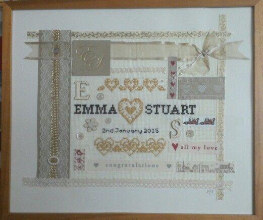Emma & Stuart wedding present. Embroidered & embellished with ribbons etc.