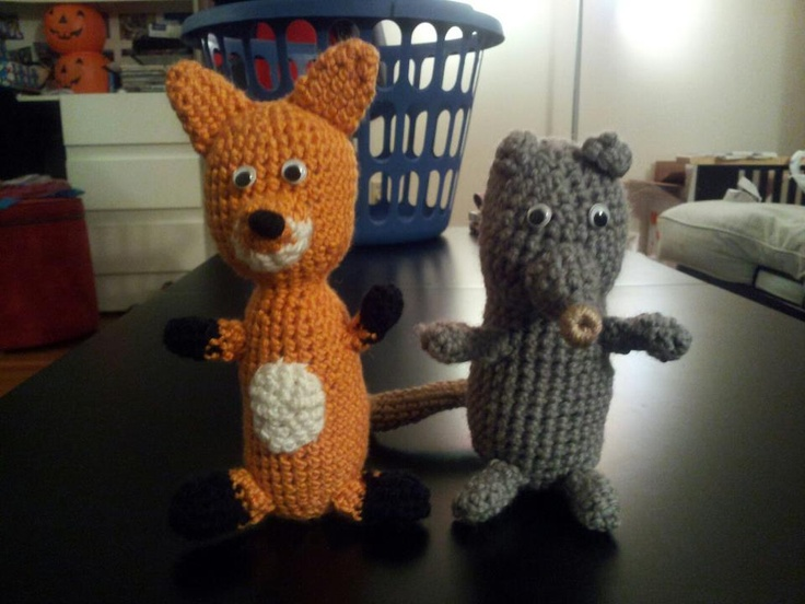 Crochet fox and possum - inspired by Fantastic Mr. Fox ...