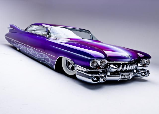 """1959 Cadillac """"WildCad"""" built by Mario Colalillo and painted by Gene Winfield. Now that's a CaddyDaddy I could drive. Low, fades, flames and chrome..."""