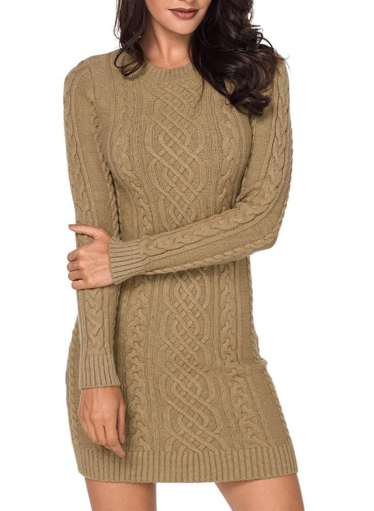 16333554ac7 LOSRLY Women Crew Neck Long Sleeve Cable Knit Bodycon Sweater Midi Dress   fashion  clothing  shoes  accessories  womensclothing  sweaters (ebay link)