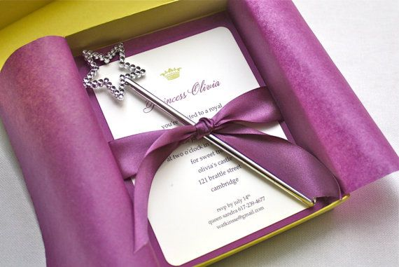Purple Princess Crown Birthday Party Invitation - Box Mailer, Wand Favor, Satin Ribbon, Multi-Layered Invitation