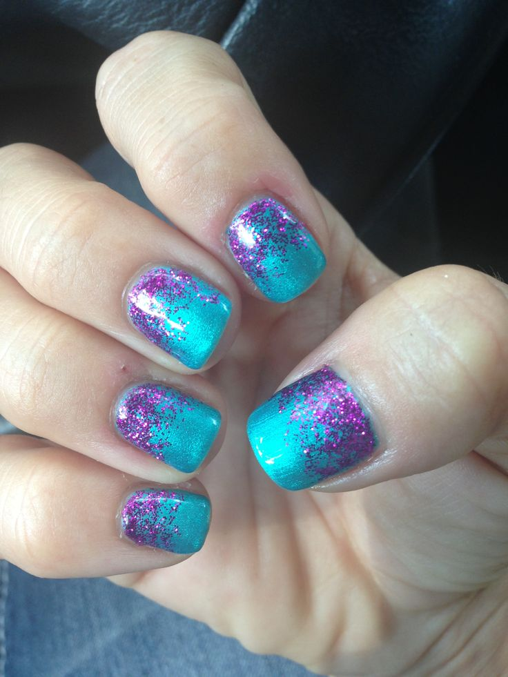 Turquoise And Purple Glitter Nails Pretty Summer