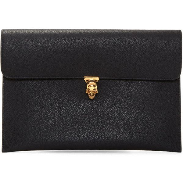 Alexander McQueen Black Skull Envelope Clutch ($555) ❤ liked on Polyvore featuring bags, handbags, clutches, black, alexander mcqueen clutches, kiss-lock handbags, alexander mcqueen purse, envelope clutch bags and alexander mcqueen