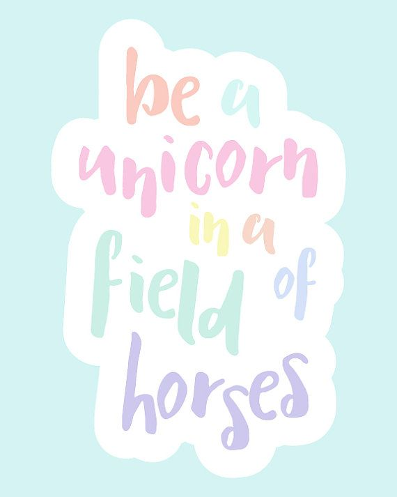 Inspirational Wall Art Be A Unicorn Pastel by KiwiInTheClouds