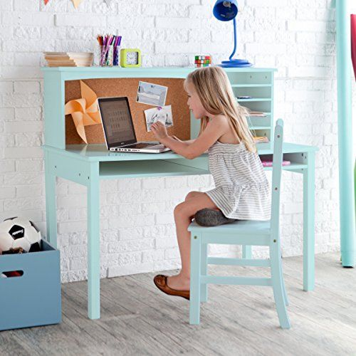 Crafted of Natural Wood Stylish Functional Desk Set with Hutch and Chair Teal ** To view further for this item, visit the image link.