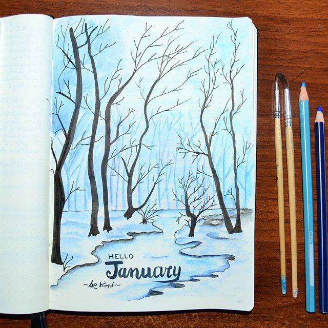 Good morning bujo-friends! It will be January in a few days and I'm setting everything for the new month. The trees are came back. I always dream about living near a forest and I hope one day I could do. I love drawing animals and cute doodles but sometimes I need to express my deepest feelings and these last few days I felt very cold inside and outside. This is the place where I could feel my thoughts in harmony with the world. ❄ ❄ ❄ #bulletjournal #bulletjournalitalia #bujo #bujolove…